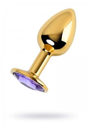 Анальная пробка Metal by TOYFA, металл, золотистый, с кристаллом цвета аметист, 7 см, Ø 2,8 см, 50 г