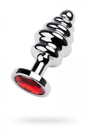 Анальная пробка Metal by TOYFA, металл, серебристый, с кристаллом цвета рубин, 8 см, Ø 3,5 см, 95 г