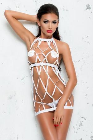 Платье и стринги Me Seduce Bond Me Colette, белые, S/M