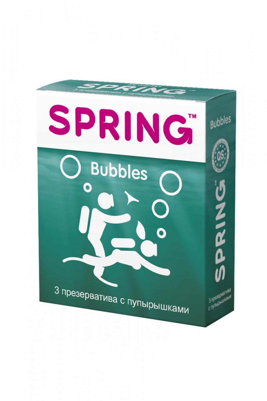 Презервативы Spring Bubbles, с точечной поверхностью, 3 шт