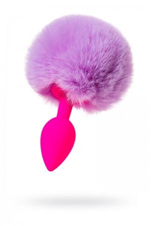 Анальная пробка ToDo by Toyfa Sweet bunny с хвостом, силикон, розово-фиолетовый, Ø 2,8 см