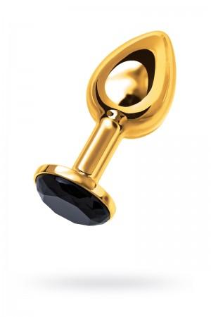 Анальная пробка Metal by TOYFA, металл, золотистая, с черным кристаллом, 7,5 см, Ø 3 см, 145 г