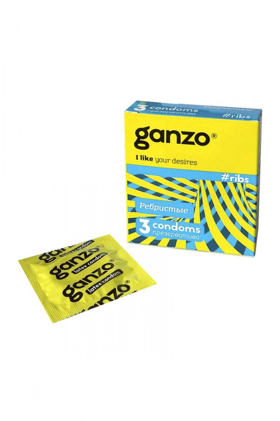 Презервативы Ganzo Ribs, с ребристой поверхностью, 3 шт