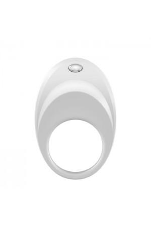 Эрекционное кольцо OVO динамичной и современной формы с ультрасильной вибрацией, силиконовое, белое