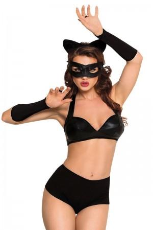 Костюм SoftLine Collection Catwoman (бюстгальтер,шортики,головной убор,маска и перчатки), L