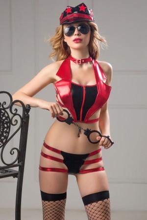 Костюм полицейской Candy Girl Roxy (топ, трусики, головной убор, очки, чулки, наручники) OS