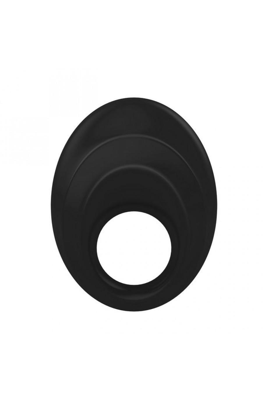 Эрекционное кольцо OVO закругленной стмулирующей формы с ультрасильной вибрацией, силиконовое, черное