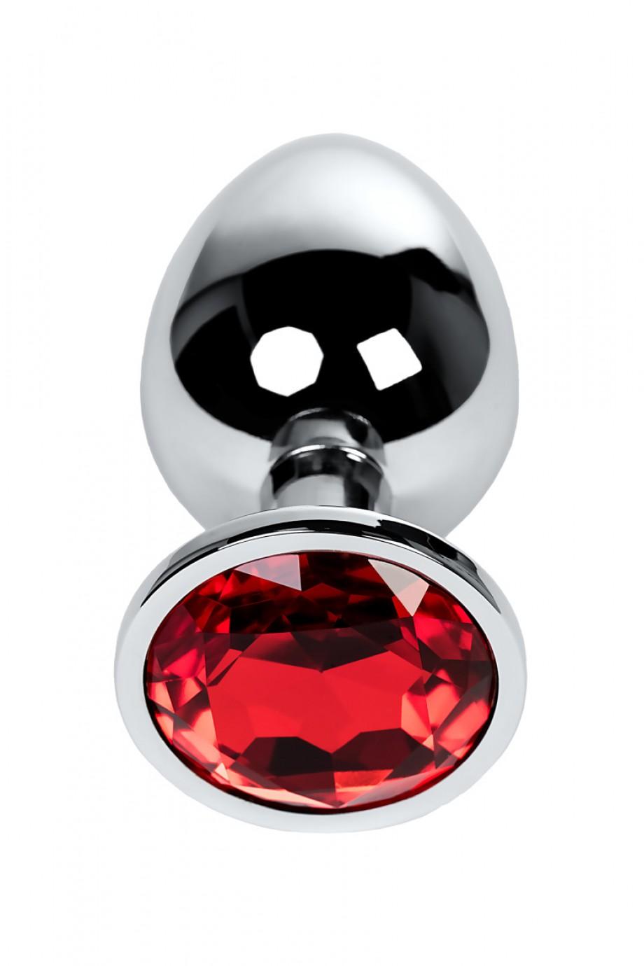 Анальная пробка Metal by TOYFA, металл, серебристая, с кристаллом цвета рубин, 9,5 см, Ø 4 см, 420 г