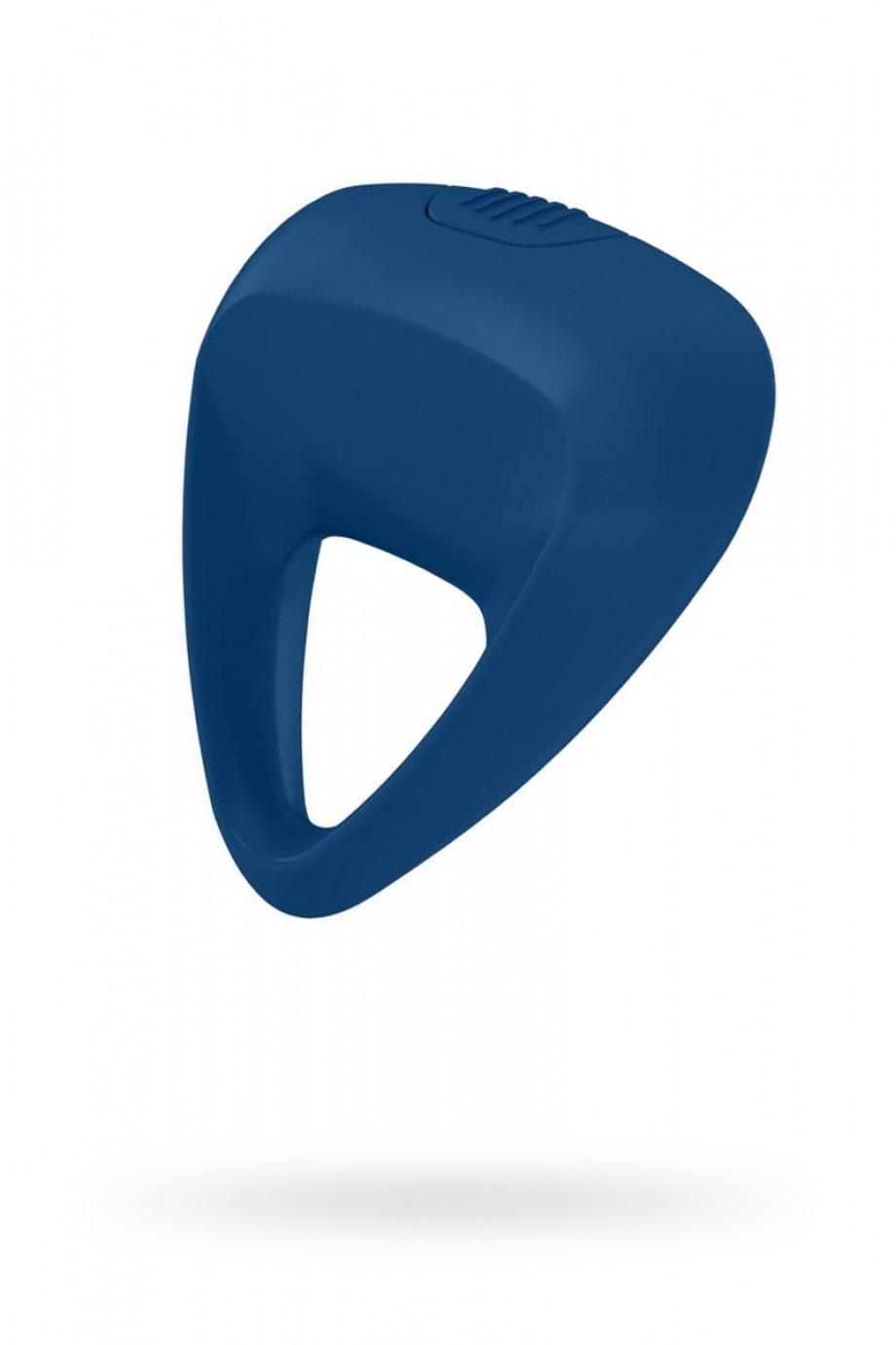 Эрекционное кольцо OVO инновационной трехгранной формы с мощной вибрацией, силиконовое, синее
