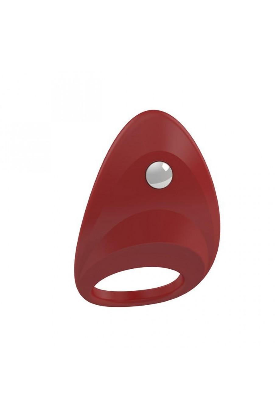 Эрекционное кольцо OVO динамичной и современной формы, силиконовое, красное